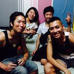 We had a great time in guest house. Other three guys are roommates from Japan and England.