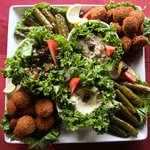 Delicious Hummus, Baba Ghanouj, Grape leaves & Falafel