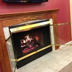 Fireplace in lobby- so cozy