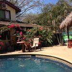 hanging out poolside at Tamarindo Backpackers