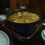 Tokpoki - rice cake, clear noodles, fish cake in a sweet, spicy broth. Excellent!