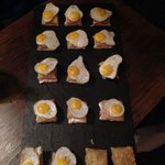 Canapes - croque monsoir with a quail egg on top - yummy!