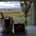 Bubbly, local hand made chocs (which were amazing!) and flowers. Beautiful view from the room be