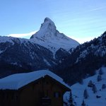 The picture from the balcony looking out to the Matterhorn on the 1st floor room 201.