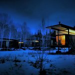 Cabins at night