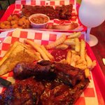 We loved the half rack wet rubbed and the chicken and ribs with two sides. Steaks, sandwiches, a