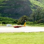 The glider coming to land at  Dillingham Airfield