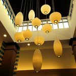 Fabulous George Nelson lamps in the Lobby!