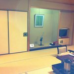 Tatami-floors; traditional chabudai (low table); tea amenities; futon sets in closet