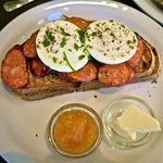 Poached eggs & Chorizo on Toast