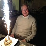 Birthday Dessert after a wonderful meal.