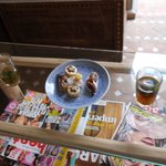 Mint tea and morrocan sweets provided on arrival at the riad.