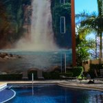 The waterfall mural by the pool.