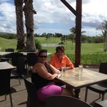 Patio seating offers golf course & ocean views!