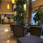 Hotel lobby with comfortable waiting area