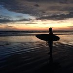 Sunset surfing with Jerson