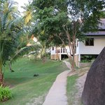 path from pool to villas
