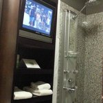 View of the TV from the toilet. hehe