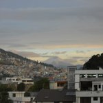 View of Cotapaxi from rooftop terrace.