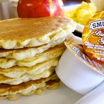 A fresh pancake stack from our breakfast buffet