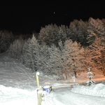Nearby chairlift bottom station by night