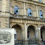 Royal Hotel in 1854 (inset) and today