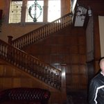 Sweeping staircase up to room