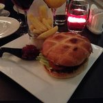 reindeer burger.... tasty but a bit tough
