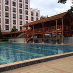 the hotel pool and covered walkway
