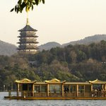 Another shot from the lake looking across hotel grounds to Lifeng temple