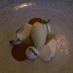11th course. Perfumed sour apples with yogurt, parsnip pudding and caramel.