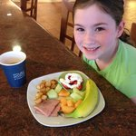 The green St. Patty's Day pancakes made her day!