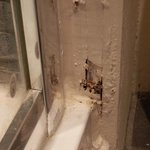 Rotten wooden shower frame
