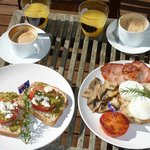 Wonderful brekky on terrace