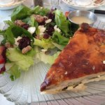 Wisteria house salad with champagne vinaigrette and Hot Artichoke Spinach White Cheddar Tart (ac