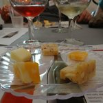 Formal wine tasting with cheeses