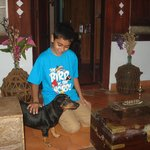My son playing with Tipu