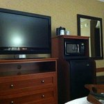Microwave, t.v. and fridge in room.