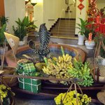 Lobby area decorated for New Year