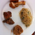 Fried bee hoon; black pepper chicken; fried chicken; potato ball