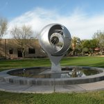 One of the many sculptures on campus