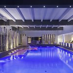 Indoor thermal swimming pool by night