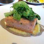 Salmon with brussel sprouts and polenta