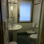 Small but very clean and functional bathroom.