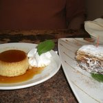 Desserts = flan and Milhojas
