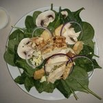 Spinach salad with blackened chicken. Healthy and delicious.