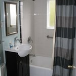 Nicely remodeled bathroom in Cascade Suite