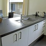Plenty of kitchen counter space and a great sink