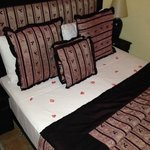 Rose petals on our bed when we arrived!!