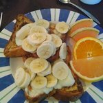 Breakfast - French Toast with cream and bananas